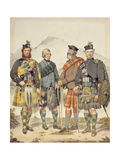 Four Gentlemen in Highland Dress, 1869 Giclee Print by Kenneth Macleay