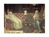 Allegory of Good Government, Detail of Peace, Fortitude and Prudence, 1338-40 Giclee Print by Ambrogio Lorenzetti