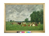 Pasture in Fervaques Or, Cows in a Pasture, 1874 Giclee Print by Eugene Louis Boudin