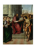 St. John Chrysostomos with SS. Paul, Liberalis, John the Baptist, Cecilia, Catherine and Mary Giclée-tryk af Sebastiano del Piombo