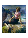 Girl on a Cliff, 1926 Giclee Print by Harold Harvey
