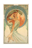 The Arts: Poetry, 1898 Giclée-tryk af Alphonse Mucha