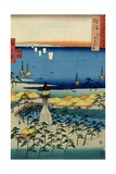 The Shore at Sumiyoshi Showing the Village and Lighthouse, Settsu Province from 'Famous Places… Giclee Print by Ando Hiroshige