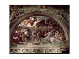 Pope Leo I (C.390-461) Repulsing Attila (C.406-453) 1511-14 Reproduction procédé giclée par  Raphael