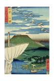 Boats, Village and Castle at Ueno, Iyo Province from 'Famous Places of the Sixty Provinces, 1854 Giclee Print by Ando Hiroshige
