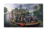 The Boating Party, Satirical Scene with Cats and Monkeys as Humans Giclée-Druck von Sebastian Vrancx