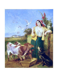 Feeding the Calves Giclee Print by Richard Ansdell