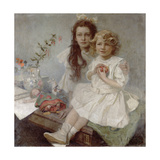 Jaroslava and Jiri - the Artist's Children, 1918 Giclee Print by Alphonse Mucha