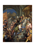 Doge Sebastiano Ziani (C.1102-80) Receiving the Blessed Ring from Pope Alexander III (1105-81) Giclee Print by Andrea Vicentino