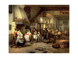 Interior of a Tavern with a Blind Fiddler, 1844 Giclee Print by Jan August Hendrik Leys