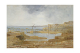 Sketch of Inner Harbour, a Temporary Crane, May 1829 Giclee Print by Robert Mackreth