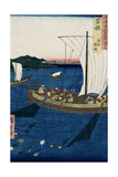 Fishermen Netting Sole, Wakasa Province from 'Famous Places of the Sixty Provinces', 1853 Giclee Print by Ando Hiroshige