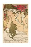 Poster Advertising the Salon Des Cent Exposition at the Hall De La Plume, 1896 Reproduction procédé giclée par Alphonse Marie Mucha