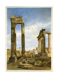 The Temples of Vespasian and Saturn, with the Temple of Castor Beyond, the Forum, Rome Giclee Print by Thomas Hartley Cromek