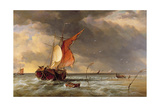 A Dutch Galliot Aground on a Sandbank on the Bies Bosch, Holland, 1878 Giclee Print by Edward William Cooke