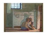 Study of Children by a Fire, Possibly from 'The Bluebird' by Maeterlinck, 1911 Gicleetryck av Frederick Cayley Robinson