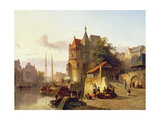 Fortified Buildings on the Banks of a Canal Giclee Print by Cornelius Springer