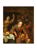 The Hurdy Gurdy Player Asleep in a Tavern Giclee Print by Willem Van Mieris