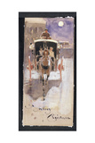 Christmas Card with a Hansom Cab Giclee Print by Joseph Crawhall
