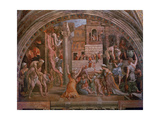 Fire in the Borgo, from the 'Stanza Dell'Incendio' (Hall of the Fire) c.1514-17 Giclee Print by  Raphael & Giulio Romano