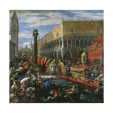 Pope Alexander III Receiving and Blessing Doge Sebastiano Ziani Giclée-tryk af Francesco Bassano