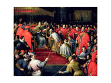 Pope Alexander III (1105-81) Offering Doge Sebatiano Ziani (D.1178) the Blessed Giclee Print by Leandro Da Ponte Bassano