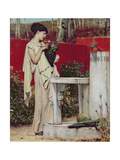 Woman with a Vase of Flowers Giclee Print by Sir Lawrence Alma-Tadema