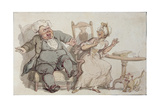 An Old Woman and Her Dog Startled by Male Company Giclee Print by Thomas Rowlandson