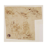 The Adoration of the Child by the Virgin Mary, with Other Figures and Angels Giclee Print by Leonardo Da Vinci