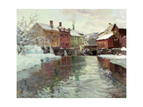 Snow-Covered Buildings by a River Giclee Print by Fritz Thaulow