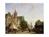 Dutch Street Scene Giclee Print by Adrianus Eversen