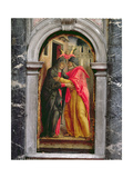 Triptych of the Madonna of the Misericordia, Left Panel with the Meeting of Anne and Joachim Giclee Print by Bartolomeo Vivarini