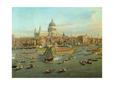 The River Thames with St. Paul's Cathedral on Lord Mayor's Day, Detail of St. Paul's Cathedral Giclée-tryk af Canaletto