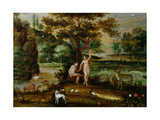 Adam and Eve in the Garden of Eden Giclee Print by Isaak van Oosten