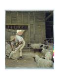 Sheep Shearing Giclee Print by Alexander Mann