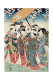 Young Woman with Five Attendants, 1850 Giclee Print by  Toyokuni