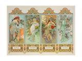 The Seasons: Variant 3 Gicléedruk van Alphonse Mucha