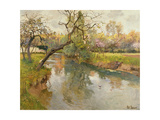 French River Landscape with a Flowering Tree Giclee Print by Fritz Thaulow