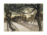 Peter Pan on a Branch, Scene from 'Peter Pan in Kensington Gardens' by J.M Barrie, 1912 Gicleetryck av Arthur Rackham