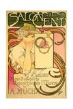 Poster Advertising the 'Salon Des Cent' Mucha Exhibition, 1897 Lámina giclée por Mucha, Alphonse Marie