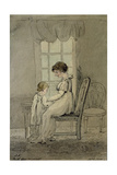 Portrait of Mrs. Nixon with Her Child, New King Street, Bath, 1800 Gicleetryck av John Nixon