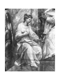 Faith, Surrounding One of Two Allegorical Figures Surrounding Pope Sylvester I (314-35) Raphael Giclee Print by Giulio Romano