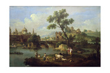 Landscape with a River, Bridge and Flocks Giclee Print by Giuseppe Zais