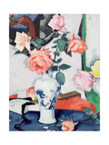A Vase of Pink Roses Giclee Print by Samuel John Peploe