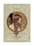 Tetes Byzantines: Brunette, 1897 Reproduction procédé giclée par Alphonse Marie Mucha