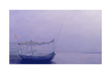 Prayer Candles on the Ganges Giclee Print by Derek Hare
