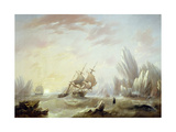 Whale Fishing in a Polar Sea, 1845 Giclee Print by John Wilson Carmichael