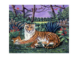Tiger with Cubs, 1988 Giclee Print by Liz Wright