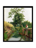 A Boy Fishing Giclee Print by Arthur Hughes
