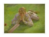 Henry Allen in Cricketing Whites Giclee Print by Henry Scott Tuke